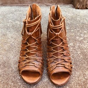 Lace Up Heeled Sandals